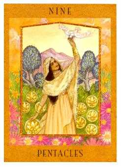 Nine of Coins Tarot Card - Goddess Tarot Deck