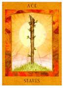 Ace of Staves Tarot card in Goddess Tarot deck