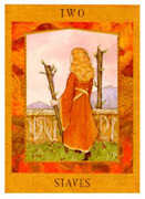 Two of Staves Tarot card in Goddess Tarot deck
