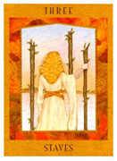 Three of Staves Tarot card in Goddess Tarot deck