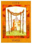 Four of Staves Tarot card in Goddess Tarot deck