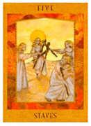 Five of Staves Tarot card in Goddess Tarot deck