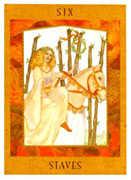 Six of Staves Tarot card in Goddess Tarot deck
