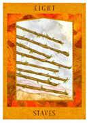 Eight of Staves Tarot card in Goddess Tarot deck