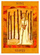Nine of Staves Tarot card in Goddess Tarot deck