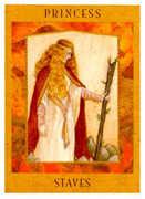 Princess of Staves Tarot card in Goddess Tarot deck
