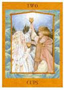 Two of Cups Tarot card in Goddess Tarot deck