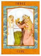 Three of Cups Tarot card in Goddess Tarot deck