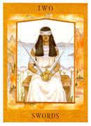 Two of Swords Tarot card in Goddess Tarot deck
