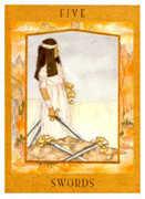Five of Swords Tarot card in Goddess Tarot deck