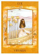 Six of Swords Tarot card in Goddess Tarot deck