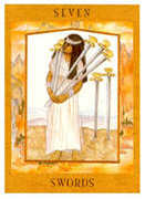 Seven of Swords Tarot card in Goddess Tarot deck