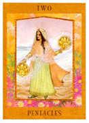 Two of Pentacles Tarot card in Goddess Tarot deck