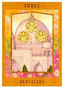 Three of Pentacles Tarot card in Goddess Tarot deck