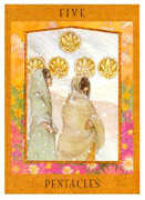 Five of Pentacles Tarot card in Goddess Tarot deck