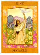 Nine of Pentacles Tarot card in Goddess Tarot deck