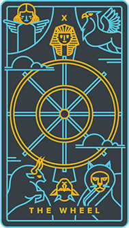 Wheel of Fortune Tarot Card - Golden Thread Tarot Deck