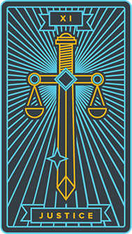 Justice Tarot Card - Golden Thread Tarot Deck