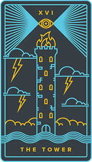 The Falling Tower Tarot Card - Golden Thread Tarot Deck
