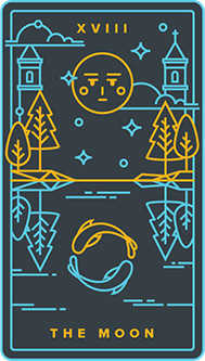 The Moon Tarot Card - Golden Thread Tarot Deck
