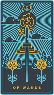 Ace of Sceptres Tarot Card - Golden Thread Tarot Deck