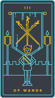Three of Batons Tarot Card - Golden Thread Tarot Deck