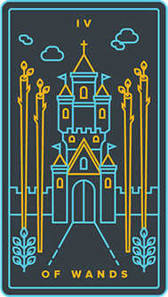 Four of Pipes Tarot Card - Golden Thread Tarot Deck