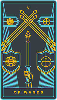 Five of Batons Tarot Card - Golden Thread Tarot Deck