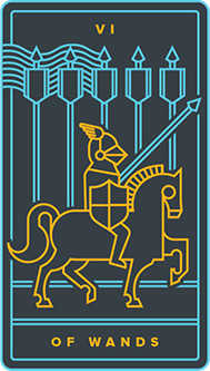 Six of Rods Tarot Card - Golden Thread Tarot Deck