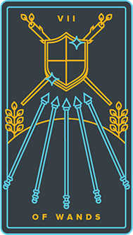 Seven of Rods Tarot Card - Golden Thread Tarot Deck