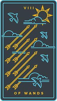 Eight of Pipes Tarot Card - Golden Thread Tarot Deck