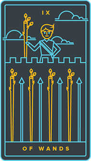 Nine of Batons Tarot Card - Golden Thread Tarot Deck