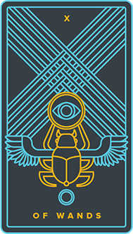 Ten of Staves Tarot Card - Golden Thread Tarot Deck