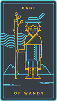Page of Rods Tarot Card - Golden Thread Tarot Deck