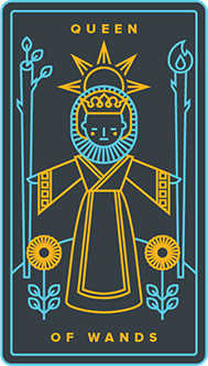 Queen of Rods Tarot Card - Golden Thread Tarot Deck