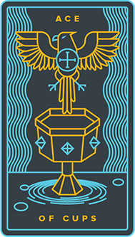 Ace of Cups Tarot Card - Golden Thread Tarot Deck