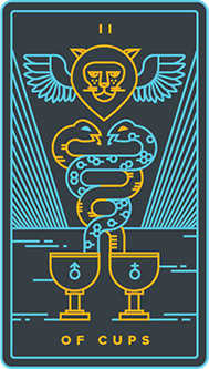Two of Hearts Tarot Card - Golden Thread Tarot Deck