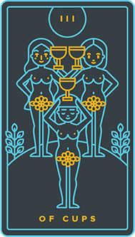 Three of Bowls Tarot Card - Golden Thread Tarot Deck