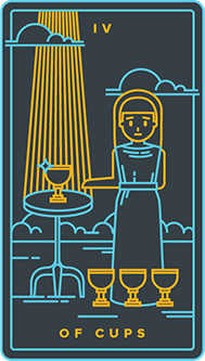 Four of Cups Tarot Card - Golden Thread Tarot Deck