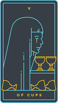 Five of Bowls Tarot Card - Golden Thread Tarot Deck
