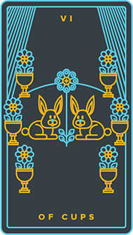 Six of Bowls Tarot Card - Golden Thread Tarot Deck