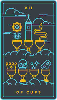 Seven of Cups Tarot Card - Golden Thread Tarot Deck