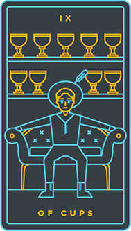 Nine of Cups Tarot Card - Golden Thread Tarot Deck