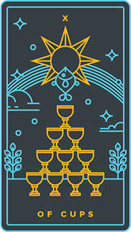 Ten of Hearts Tarot Card - Golden Thread Tarot Deck