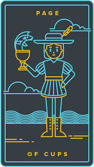 Daughter of Cups Tarot Card - Golden Thread Tarot Deck