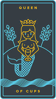 Queen of Bowls Tarot Card - Golden Thread Tarot Deck