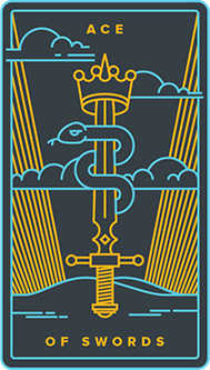 Ace of Swords Tarot Card - Golden Thread Tarot Deck