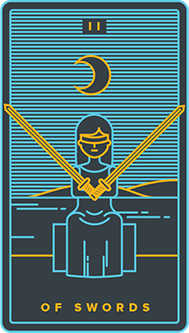 Two of Arrows Tarot Card - Golden Thread Tarot Deck