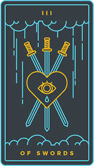 Three of Arrows Tarot Card - Golden Thread Tarot Deck
