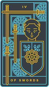 Four of Swords Tarot Card - Golden Thread Tarot Deck